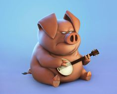 Pig cartoon based on S.Lewis Started as quick sculpt and took around 5 hours Render in Keyshot . Pig Illustration, Character Illustration, Pig Character, Character Design, Pig Games, Pig Drawing, Zbrush, Pig Art, Creature Design