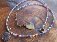 Boho 'La Lola' Mexican Tile Beaded Adjustable Necklace by FayWestDesigns