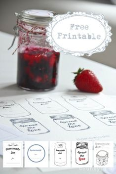 Homemade jam labels. makes me think of @Michaela Paparella Homemade Gifts, Diy Gifts, Canning Recipes, Jam Recipes, Canning Labels Free, Printable Labels, Free Printables, Home Canning, Strawberry Jam