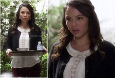 Mona's white peter pan collar top on Pretty Little Liars.  Outfit details: http://m.wornontv.net/10032/