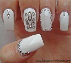 White Nails #nail #nails #nailart #unha #unhas #unhasdecoradas #polish #manicure - See more nail looks at bellashoot.com share your faves!
