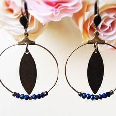 Boucles d'oreilles mini créoles- bleu brillant