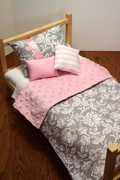 American Girl Doll Bedding - 18 Inch Doll Comforter, Pink And Grey Bedding