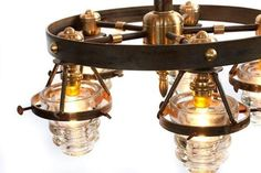 Upcycled Vintage Glass Chandelier 21 Insulator Lights Clear Blue 3 Tier Silver | eBay