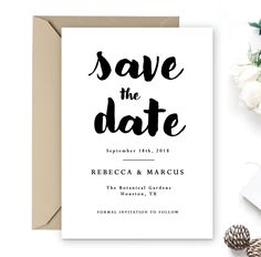 Custom Save the Date Personalized Simple Elegant Black and White Printable