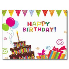 Shop Happy Birthday Postcard created by partypalooza. Happy Birthday Tag, Birthday Wishes For Boyfriend, Birthday Cake Card, Birthday Cake With Candles, Birthday Tags, Happy Birthday Greetings, Birthday Cupcakes, Birthday Quotes, Happy Birthdays
