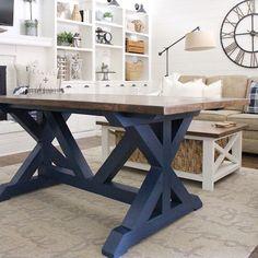 18 New Ideas Farmhouse Desk Decor Kitchen Islands Blue Kitchen Tables, Narrow Dining Tables, Painted Kitchen Tables, Dining Room Blue, Navy Kitchen, Dining Rooms, Small Tables, Table For Small Space, Small Spaces
