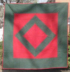 Antique Amish Sawtooth Diamond Quilt 1920's