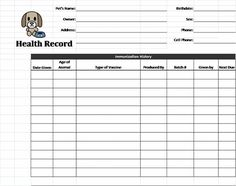 Printable Dog Shot Record Forms Dog Shot Record Dogs Puppies Pets