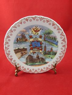 Vintage Collectors Plate State of Indiana by AlwaysPlanBVintage on Etsy