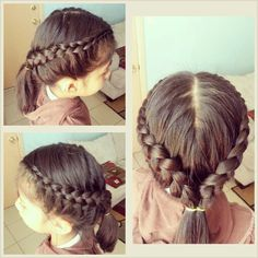 Outside braid.  Starts from the the top of head down to the side and into a pony tail.