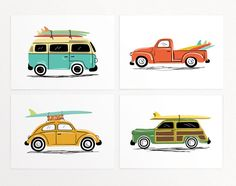 "Surf Trip Wall Art Print Set - 4 Prints - vintage cars' illustrations with surf boards - VW Van, Beetle, Truck  - Unframed 7""x5"" or 10""x8"" by LucyLovesPaper on Etsy https://www.etsy.com/listing/225779981/surf-trip-wall-art-print-set-4-prints"