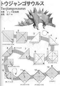 PAPIROFLEXIA PARA TOD@S: TUOJIANGOSAURUS Diy Origami, Origami And Kirigami, Origami Paper, Diy Paper, Paper Art, Paper Crafts, Oragami, Origami Tattoo, Diagrammes Origami