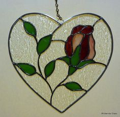 Stained Glass Heart with Rose Suncatcher by WildwindsGlass on Etsy