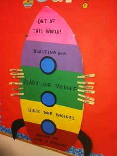 Behavior management rocket featured in our classroom this year! Cool idea, or I was thinking top layer: in the stars, then floating by (asteroid or something), then black hole. Maybe too harsh. Classroom Behavior Management, Classroom Organisation, Classroom Displays, Behaviour Management Strategies, Behaviour Chart Classroom, Behavior Chart Preschool, Behavior Plans, Behavior Charts, Space Theme Classroom