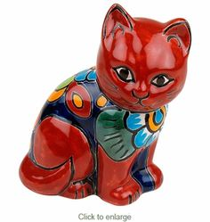 Mini Talavera Cat Figurine - This charming painted Talavera mini cat figurine is a great way to animate your home décor. This colorful cat makes a great gift for all cat lovers. Our bright and colorful Talavera figurines are handcrafted in the Puebla region of Mexico.