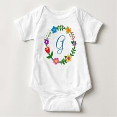 Monogram Bodysuit Letter G Frame Flowers. For George, Gabriel, Gabe, Gavin, Greg, Gordon, Glen, Grant, Garrett, and more