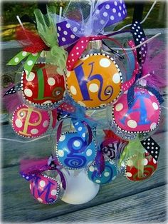 Personalized ornaments by Puddle Duck