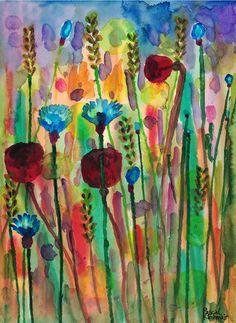 """""""Wild flowers"""", watercolour on paper, 30 x 40 cm Felder, Wild Flowers, Watercolour, Paintings, Paper, Painting Art, Flowers, Pen And Wash, Watercolor Painting"""