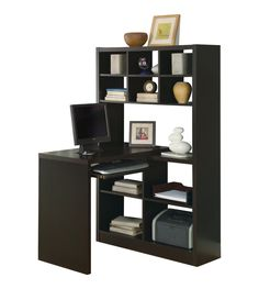 Like this but with longer table so 2 can use it. Amazon.com - Monarch Specialties Cappuccino Hollow-core Left Or Right Side Corner Desk - Home Office Computer Desks