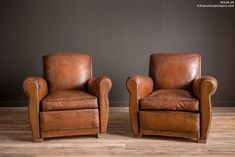 French Club Chairs by William's Antiks | WA26-28 Sursense Square Pair of Leather French Club Chairs | 1