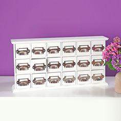 Artikeldetails:  Besitzt 18 Schubladen, Praktisch zur Aufbewahrung, Aus Holz und Metall,  Maße:  Maße (B/T/H): 10/50/25 cm,  Material/Qualität:  Polyresin,  ...