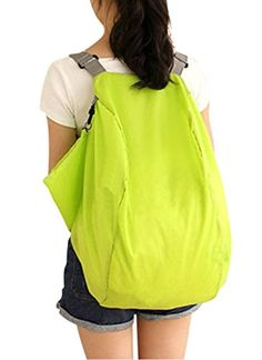 WITERY 2 Way Use Nylon Crossbody Foldable Travel Shoulder Storage Bag Handbag Backpack Green -- Check this awesome product by going to the link at the image.