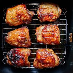 Air fryer chicken thighs with crispy skin and tender and juicy meat. Glazed with. , Air fryer chicken thighs with crispy skin and tender and juicy meat. Glazed with. Air fryer chicken thighs with crispy skin and tender and juicy mea. Air Fryer Recipes Breakfast, Air Fryer Dinner Recipes, Air Fryer Oven Recipes, Air Fryer Chicken Recipes, Airfryer Breakfast Recipes, Convection Oven Recipes, Breakfast Cooking, Baked Chicken Recipes, Air Fryer Chicken Thighs