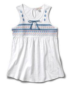 White Embroidered Tank - Girls #zulily #zulilyfinds