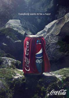 Ambush marketing - Pepsi vs Coca-Cola Attaque de Pepsi envers Coca, puis réponse en image de l'intéressé.