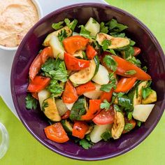 A fast warm potato salad. Serve for a main-course meal for two or as part of a weekend lunch for more. Serve topped with humous and pitta bread on the side. Easy Vegetable Salad Recipe, Vegetarian Salad Recipes, Vegan Lunch Recipes, Salad Recipes For Dinner, Dog Recipes, Healthy Salad Recipes, Healthy Snacks, Orzo, 21 Day Fix
