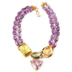Necklace with Amethyst, Lemon Quartz and Green Amethyst (€1.145) ❤ liked on Polyvore featuring jewelry, necklaces, amethyst necklace, lemon quartz necklace, amethyst jewelry, green amethyst jewelry and amethyst jewellery