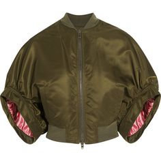 Givenchy Cropped bomber jacket in army-green satin ($1,540) ❤ liked on Polyvore featuring outerwear, jackets, bomber jacket, tops, army green, satin jackets, green military jacket, cropped bomber jackets, olive green bomber jacket and brown bomber jacket