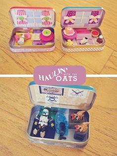 DIY Altoids tin mini doll homes and halo bunker. Take-a-long toy houses. These are too cute Simon loves little things and putting his treasures in safe places. And he loves Halo! Diy Toy Box, Diy Box, Fun Crafts, Crafts For Kids, Geek Crafts, Mint Tins, Toy House, Tin Art, Doll Home