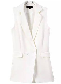 White Notch Lapel Buttons Vest Jumpsuit 26.33