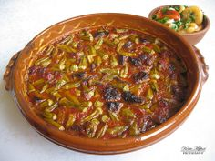 Gjell me bamje is a traditional soup whit okra and others vegetables