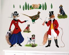 Fox Hall Wall Decals, Fabric Wall Stickers ( Not Vinyl, PVC free ) Size Medium - 50%off