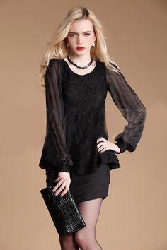 Solid Black Lace Round Neck Long Sleeve Chiffon Shirt