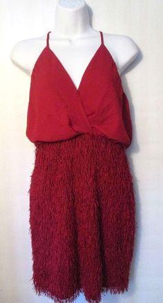 XTAREN, Red Fringy Halter Dress, size L #Xtaren #Sexy #Cocktail