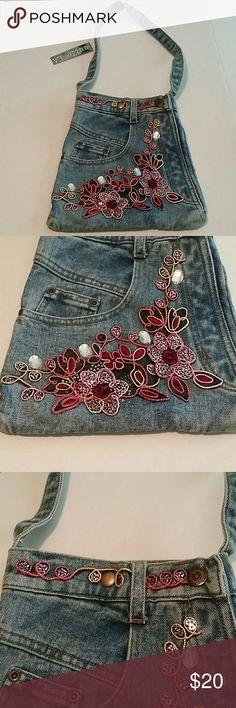 "Embellished Cutie LA jean purse Embellished Cutie LA jean purse. New with tags. Length 10.5"". Width 10"". Strap drop 13"". Cutie LA Bags"