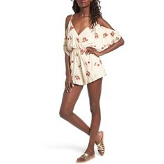 Women's Lovers + Friends Malia Off The Shoulder Romper ($158) ❤ liked on Polyvore featuring jumpsuits, rompers, floral embroidered nude, off the shoulder romper, flower romper, long-sleeve rompers, long-sleeve romper and ruffle rompers