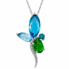 Sterling Silver Simulated Emerald Dragonfly Pendant - jcpenney