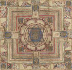 Jain Cosmic Diagram depicting Tirthankaras (Yantra). Western India, Gujarat or Rajasthan. 1700s.