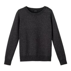 Crew neck sailor pullover - charcoal grey chiné - A.P.C. WOMAN (9.935 RUB) ❤ liked on Polyvore featuring tops, sweaters, shirts, crew-neck sweaters, crewneck pullover, charcoal grey shirt, crew neck pullover sweater and sailor sweater