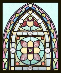 VICTORIAN BEAUTY antique stained glass window