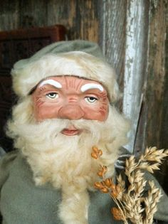 """ooak by stephanie koppmann for victoriawilliam antiques.  12"""" german woodcutter santa candy container"""