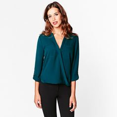 Lovely front wrap blouse in teal.