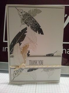 https://www.facebook.com/Dospiration Stampin up, Four feathers, smokeyslate, whisper white, thank you card, gold