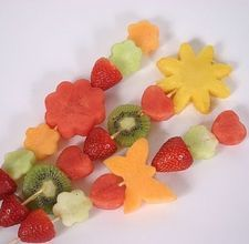Kids fruit kabobs.