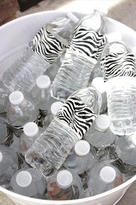 Wrap duct tape around water bottles great party idea!